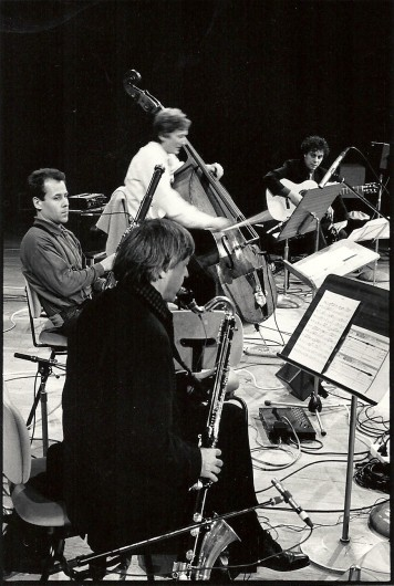 with Michel Portal, Jean-François Jenny-Clark and Thomas Gubitsch at Radio France (Photo : Stéphane Ouzounoff)