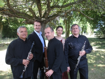 From left to right : Lucien Aubert, Clarinet, Yann Toussaint, Baryton, Ana Staicu, Soprano, Claude Villevieille, Oboe